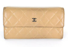 Authentic CHANEL Matelasse CC Quilted Light Brown Lambskin Flap Long Wallet