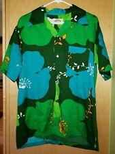 Vintage Pomare Hawaiian shirt men's L Hibiscus Green Blue Barkcloth