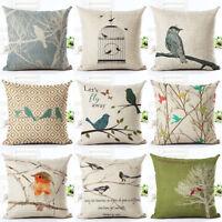 Bird Square Linen Pillow Cover Case Cushion Cover Home Sofa Car Decor Healthy