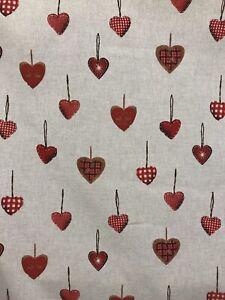 Christmas heart design linen look cotton canvas craft fabric