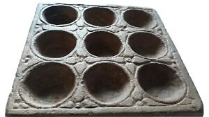 Indian Old Tribal Primitive Sand Stone Spice Tray Hand Carved Plate 9compartment