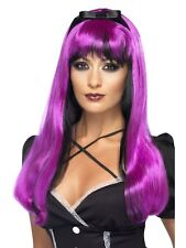Bewitching Wig Pink & Black - Halloween Deep Pink Witch Wig - Ladies Fancy Dress