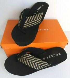 Rocket Dog Women's Wedge Flip-Flops Black Size 11 M New Box has wear see DESCR