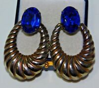 Vintage Gold Silver Tone Sapphire Blue Faceted Glass Clip On Earrings 11L 78