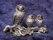 Pewter OWL FAMILY with Golden Crystal Eyes - Very Detailed