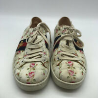 Gucci Ivory Floral Print Sneakers Size 8