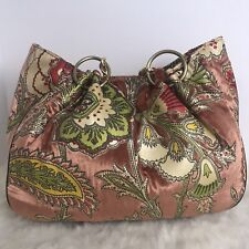 GLENDA GEIS Floral Shopper Tote Chain Link & Leather Strap Handles Pink Romant