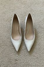 Zara Mid-Heel Leather White Shoes Size 39 US 8
