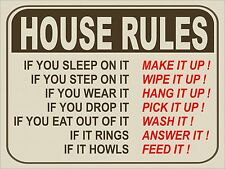 Vintage retro style funny House Rules Metal wall door Sign