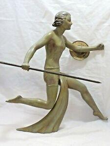 1930 Sculpture Spelter Diane The Huntress Signed LIMOUSIN Bronze Patina ART DECO