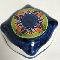 Vietri Italy Trinket Box Ceramic Abstract Design Handpainted Lidded Trinket Dish