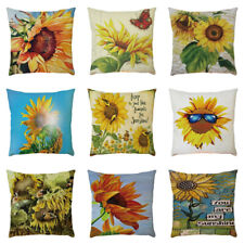 Cover Pillow Decorative Waist Sunflower Cushion Sofa Home Stylish Cotton Case