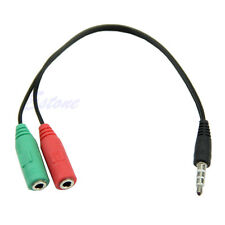 3.5mm Macho A 2 Doble Conector Jack EstéReo Auriculares Mic Splitter Cables
