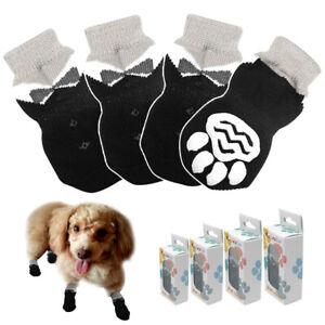 Anti Slip Paw Print Dog Socks Knitted Elastic Small Large Pet Dogs Shoes Black