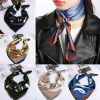 Women Gifts Neckwear Hair Tie Band Square Scarf Neckerchief Silk Feel Satin