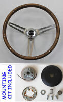 "Grant Wood Steering Wheel Stainless Spokes 15"" Fits Ididit Column Plymouth Cap"