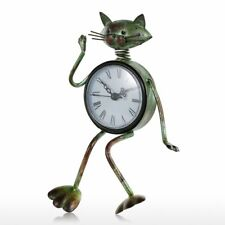 Metal Table Clock Iron Cat Figurine Modern Art-crafts Tableware Home Decoration