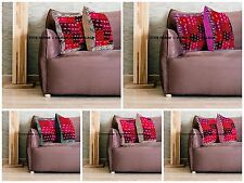 Indian Silk Cushion Covers Brocade Square Home Pillow Cases Wholsale Lot Of 5pcs