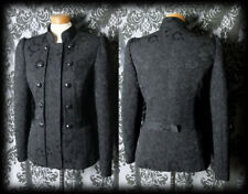 Gothic Black Damask Fitted MILITARY Button Jacket Coat 10 12 Victorian Steampunk