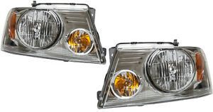 2 Headlamp Assemblies Left & Right Side W. Chrome Trim For FORD F150 F250 F350