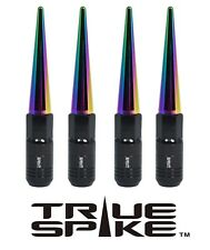 16 TRUE SPIKE 121MM 12X1.5 STEEL TUNER LUG NUTS W/ NEO CHROME EXTENDED SPIKES