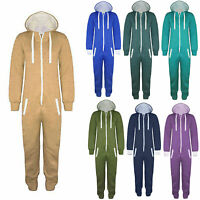 Unisex Kids Boys Girls Plain 1Onesie All In One Hooded Jumpsuit Ages 7-13 Years
