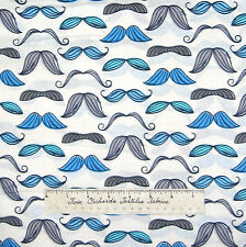 Timeless Treasures Fabric - Blue and Gray Mustache White - Organic Cotton YARD