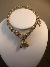 Vintage Monet Signed gold tone Charm Bracelet Faux Pearl Baby Shoes Charm