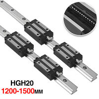 2Pcs HGH20 1200-1500mm LINEAR SLIDE GUIDE SHAFT RAIL+4Pcs HGH20UU Block US Stock