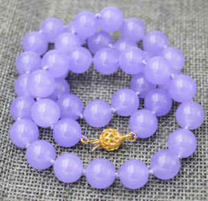 8mm Natural Purple Jade Round Gemstone Beads Necklace 18'' AAA