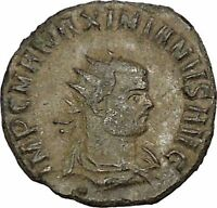 Maximian receiving Victory from Jupiter  Ancient Roman Coin i40659