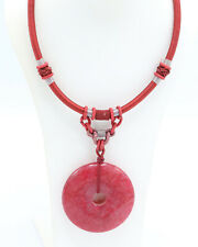 Vintage 1960s Red Necklace with Red Stone Pendant