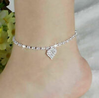 Lady Crystal Rhinestone Love Heart Anklet Ankle Bracelet Chain Women Jewelry