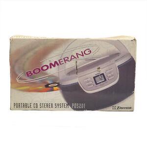 Emerson Portable CD Player AM/FM Radio Stereo Boomerang PD5201 Silver Compact