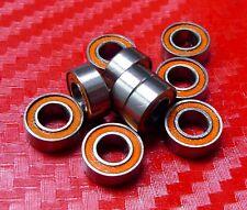 4 pcs MR128-2RS (8x12x3.5 mm) Orange Rubber Sealed Ball Bearing 8 12 3.5