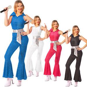 70s Ladies 1960s Super Trooper Mamma Mia Costume Disco Fancy Dress 70s Jumpsuit