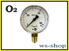 """Manometer 1/4"""" für Druckminderer Druckregler Sauerstoff O2 Autogen (0 - 315 bar)"""