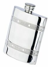 6 oz. English Pewter Flask With Two Celtic Bands, New In Box