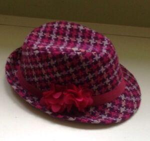 H&M Girls Dark Pink Purple Sparkle Plaid Tweed Fedora Hat~10-12Y~Party