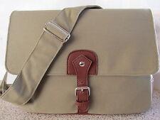 Quality Men Large Canvas Satchel Messenger Laptop College Travelling Bag Khaki
