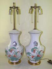 PAIR HOLLYWOOD REGENCY PORCELAINE DE PARIS BANQUET TABLE LAMPS SIGNED