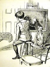 Children YOUNG BOY ARTIST DOG as MODEL UNCOOPERATIVE 1888 Art Print Matted