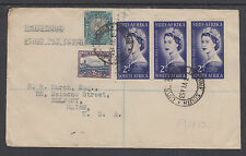 South Africa Sc 192 FDC. 1953 QEII Coronation Strip of 3 on Registered FDC