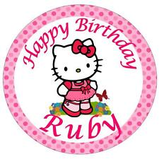 "HELLO Kitty 7,5 ""nome personalizzato ROUND CAKE TOPPER glassa commestibile"