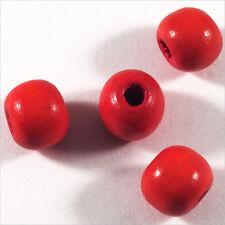 Lot de 50 perles rondes en Bois 10mm Rouge Clair
