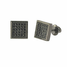 Sterling Silver Screwback Earrings Pave Black Cubic Zirconia CZ Studs 8mm Square