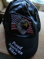 ALL LEATHER BIKER CAP PROUD AMERICAN BIKER EAGLE PATCH ON FRONT NEW W/TAGS