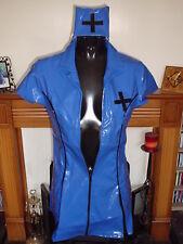 BLUE & BLACK HEAVY TIGHT PVC MATRON NURSE DRESS MEDIUM 10