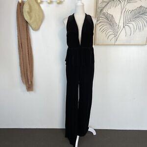 BEC AND BRIDGE | Size 10 | Black Velvet Halter Deep V Backless Peplum Jumpsuit