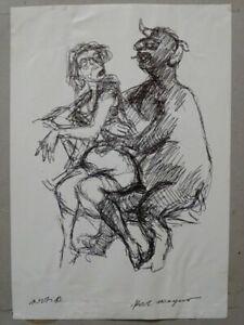 Erotik Pan Akt - Handzeichnung Kugelschreiber - Karl Wegner signiert - 1970